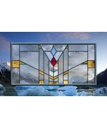 Stained Glass Window Panel Clear Mission Prairie Frank Lloyd Wright  - $183.15
