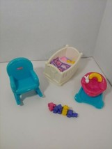 Fisher Price My First Dollhouse furniture baby crib rocking chair seat b... - $19.79