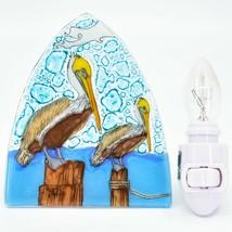 Handmade Fused Art Glass Coastal Pelican Bird Nightlight Night Light Ecuador