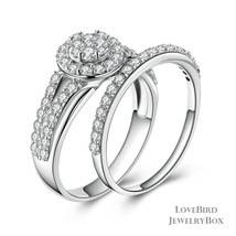 Cluster Halo Split 925 Sterling Silver Cubic Zirconia Engagement Ring Set - $53.20