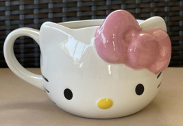 Sanrio 2020 Hello Kitty Pink & White Oversized Ceramic Mug Cup 20oz 3-D New - $21.99