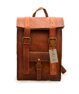 New Genuine Vintage Soft Leather Backpack Rucksack Messenger Satchel Lap... - $73.57