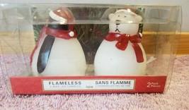 NIP 2 Flamless Wax Candles Christmas Penguin, Polar Bear in Santa hats - $9.99