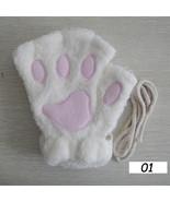 Sparsil Women Winter Half-Fingers Furry Gloves Cute Cat Claw Bear Paw Gl... - $18.21