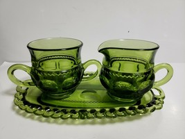 Vintage Indiana Glass Kings Color Crown Green Sugar Creamer & Tray 3 Piece Set - $9.89