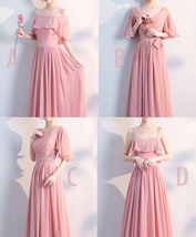 BLUSH Chiffon Bridesmaid Dresses Blush Pink Spaghetti Cap Sleeve Maxi Prom Dress