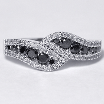 Custom Black Diamond Bypass Band Ring Women 14K White Gold 1.08 Carat - $880.00