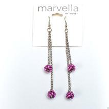 """Marvella by Monet Silvertone Purple Dangle Pierced Earrings New 4"""" - $7.99"""