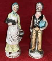 """Vintage Ceramic Old Man Woman COUPLE Figurine Statue 8"""" High Country Life - $13.09"""