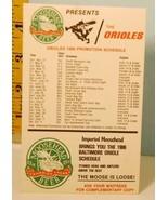 1986 Baltimore Orioles Baseball Promotion Schedule Moosehead Beer Canadi... - $4.21