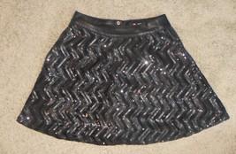 Scissor by Tractr Black Chevron Sequin Girls Skirt Size 12  - $18.55