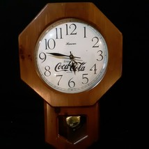 Vintage Coca Cola Wall Clock Battery Solid wood Pendulum Rare Collectible - $250.00