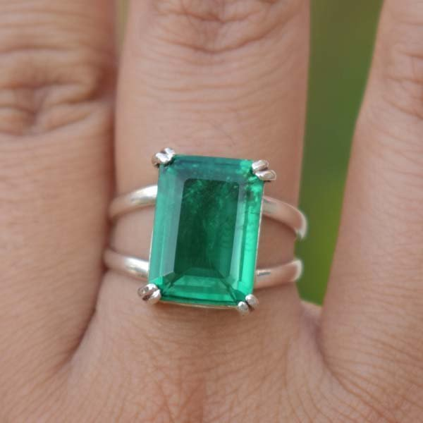 925 Sterling Silver Natural Fine Quality Emerald Gemstone Handmade Artistic Desi