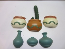 Vtg Burwwod Plastic Southwest Pots Cactus Wall Hanging Art Plaques Decor... - $24.95