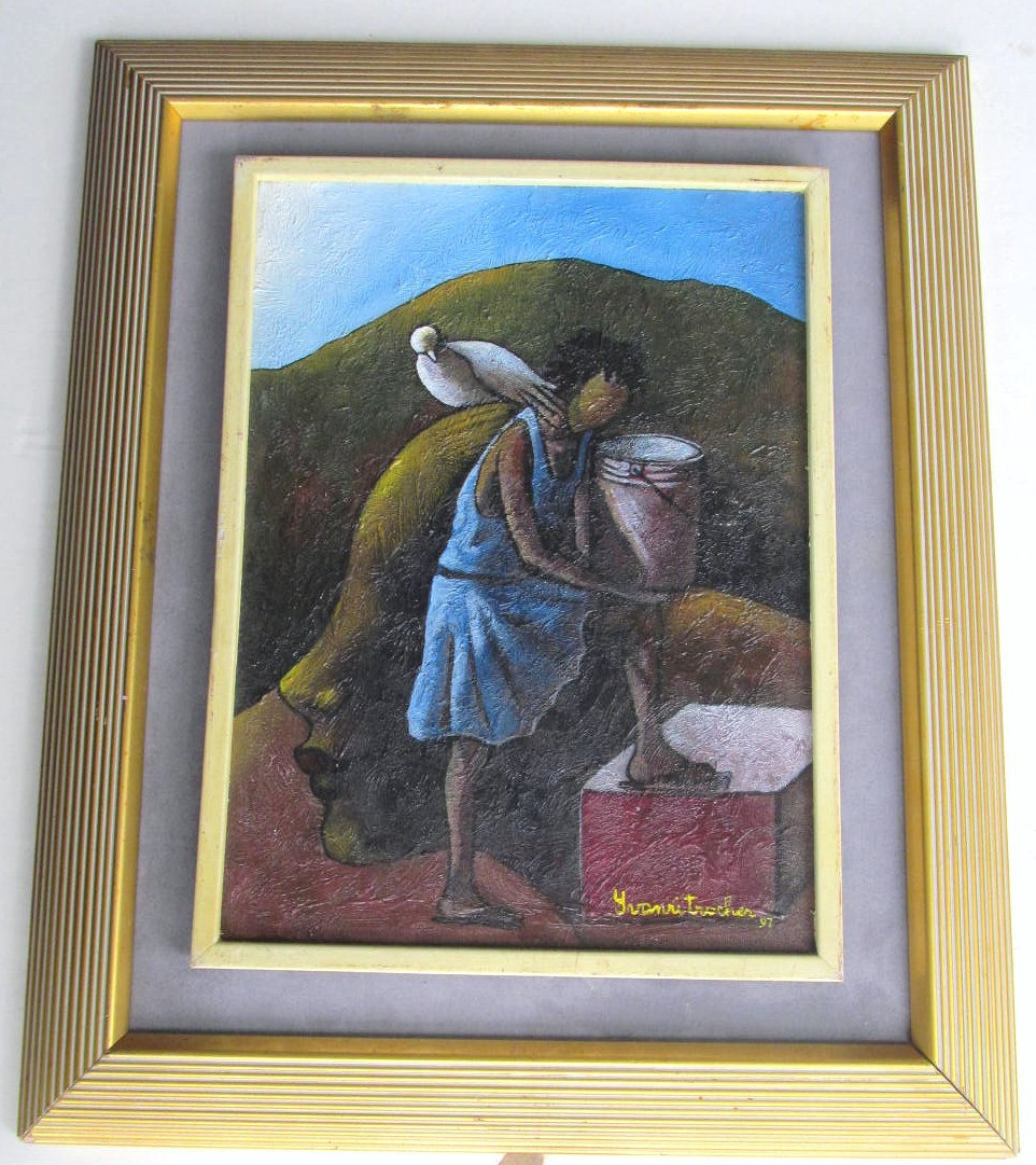 1997 Rare Signed Yves Henri Trocher Contemporary Art Painting Haiti - Listed Hai