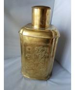 """Vintage Tall 8.5"""" Brass Jar Vase Vessel With Lid Etched Crane Asian Desi... - $74.39"""
