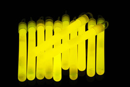 4 inch Premium Yellow Glow Sticks with Lanyards- 25 Count - $11.95