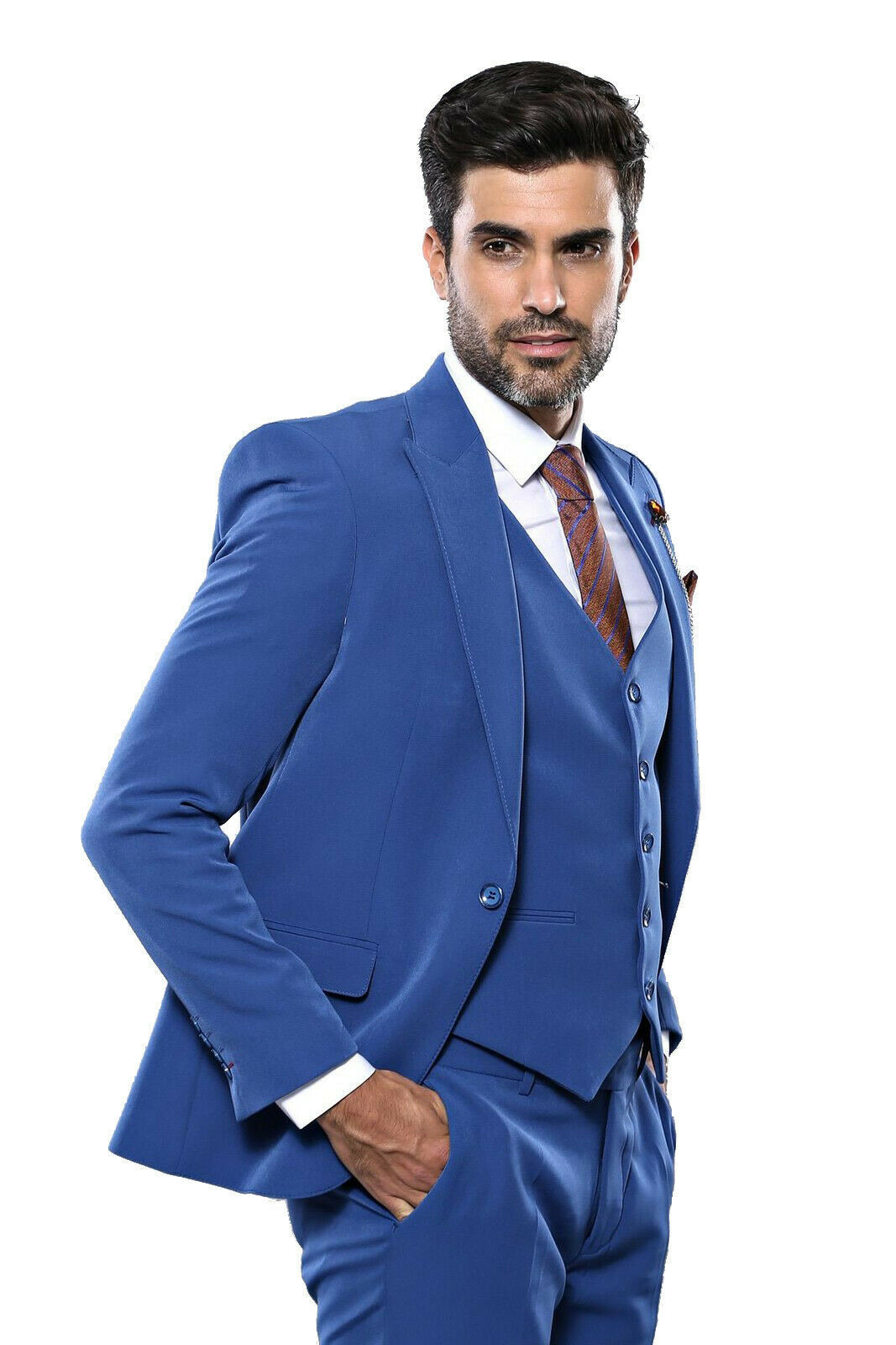 Primary image for Men 3 Piece Suit WESSI by J.VALINTIN Extra Slim Fit JV3 Light Blue One Button