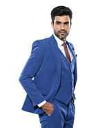 Men 3 Piece Suit WESSI by J.VALINTIN Extra Slim Fit JV3 Light Blue One B... - $99.97