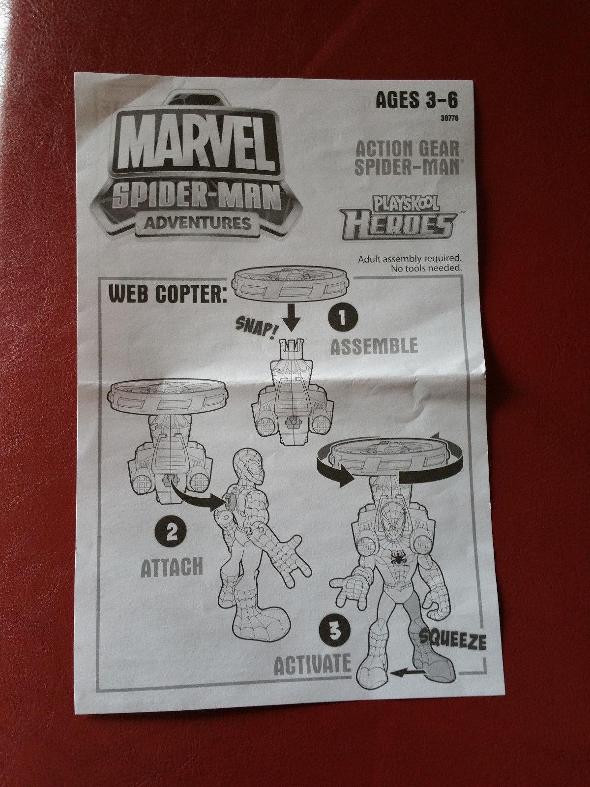 Spider-Man Marvel Playskool Heroes Action Gear Copter Jetpack Climb CMPLT w/Inst