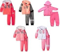 Baby Girl's 2-Piece Fleece Hoodie Jog Set Limited Too Full Zip Hoody Pants NEW