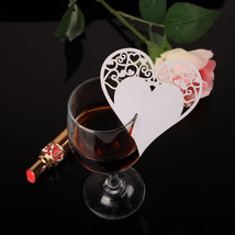 (beige)50pcs Heart-shape DIY Place Escort Wine Glass Cup Paper Card for W - $20.00