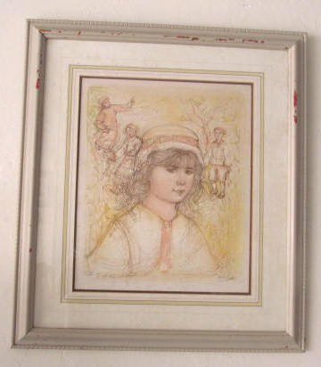 "Vintage Rare 1980's  Edna Hibel Signed lithographic Art ""Alicia"" Litho Print #4"