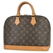 Auth Louis Vuitton Monogram Hand Bag Brown Leather PVC Alma Logo Pouch LVB0757 - $484.11