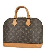 Auth Louis Vuitton Monogram Hand Bag Brown Leather PVC Alma Logo Pouch L... - $484.11