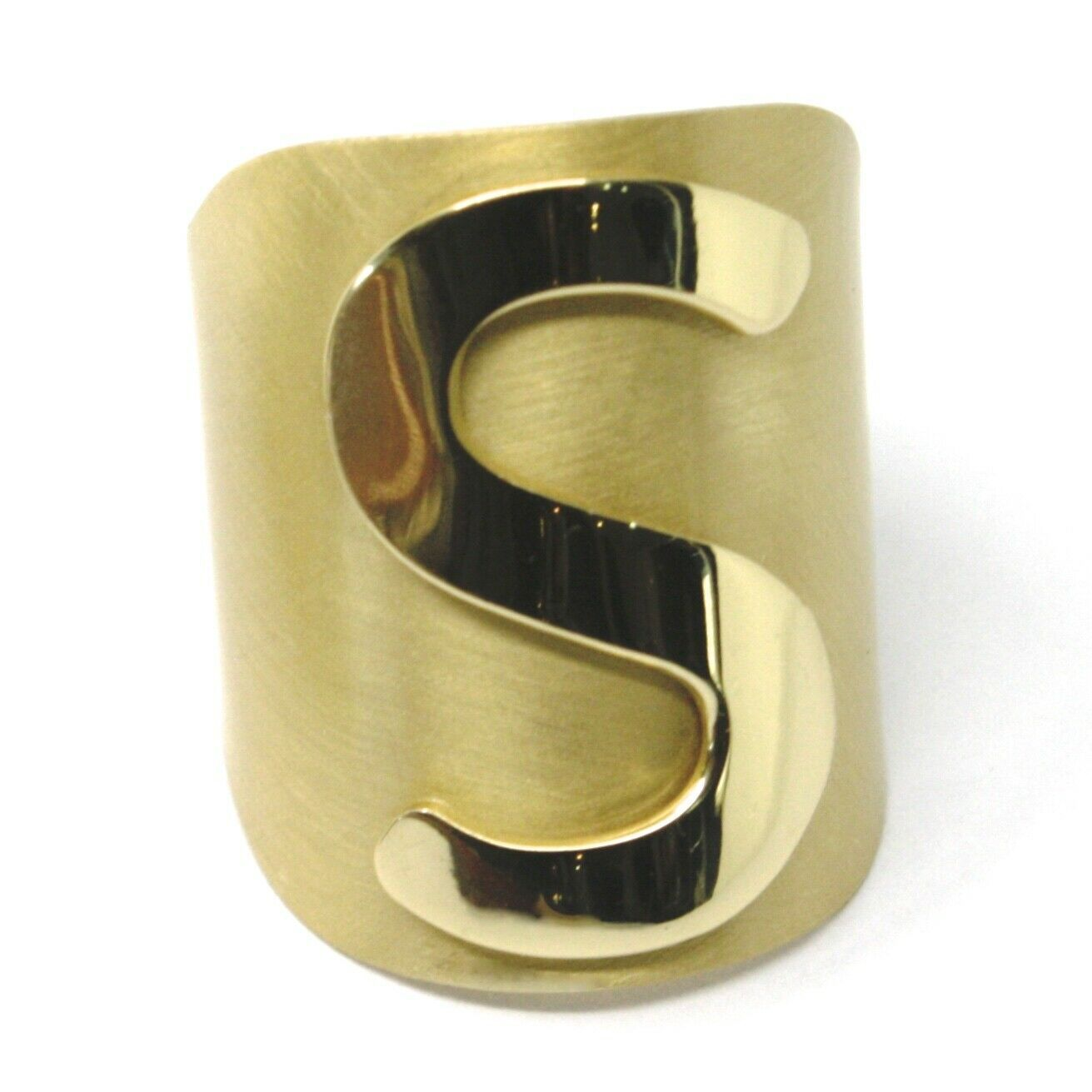 SOLID 925 STERLING SILVER BAND RING, BIG LETTER S, YELLOW SATIN FINISH, SIZABLE