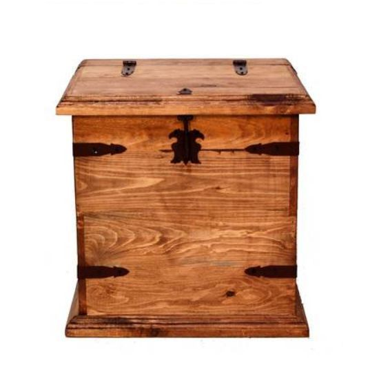 Rustic End Table Storage Trunk Western Real Solid Wood Cabin Lodge