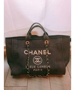 Auth CHANEL Deauville Tote Bag Denim Navy Logo Chain Inner Pocket Gold B... - $2,032.47