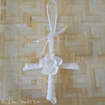 Seashell Cross Flower Crucifix Christmas Ornament Wall Hanging Decoratio... - $14.99