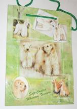 Wheaten Terriers Gift Bag Present Tag Handles Medium Green Dogs Soft Coa... - $4.94
