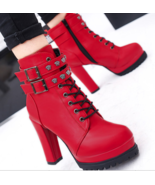99b152 Thick & high heel Martin booties, size 5-9, red - $58.80