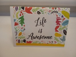 Multi-colored life is awesome with flowers on a blank handmade greeting ... - $2.50