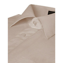 Omega Italy Men Grey Classic French Convertible Cuff Solid Dress Shirt - L image 2