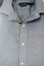 RALPH LAUREN Non-iron Check Dress Shirt Blue White Slim-fit Stretch 17 32/33 - $24.99