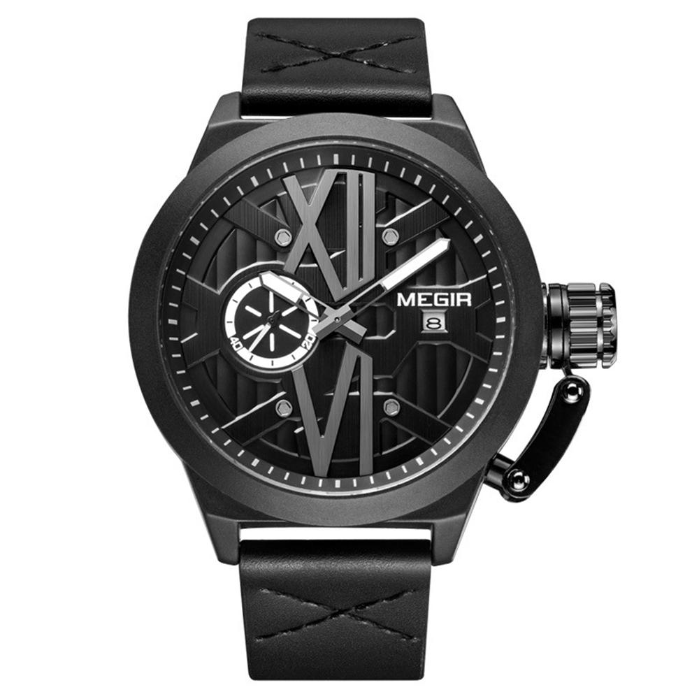 MEGIR 1078 Luminous Display Calendar Quartz Watch Unique Design Men Wrist Watche