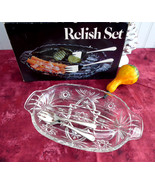 Leonard Silver Divided Relish Dish With 2 Forks 2 Part Party Server Orig... - $28.00