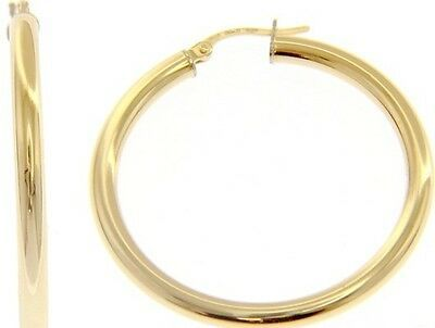 18K YELLOW GOLD ROUND CIRCLE EARRINGS DIAMETER 30 MM, WIDTH 3 MM, MADE IN ITALY