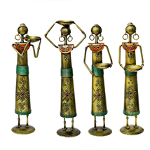 Hand Craft Traditional Rajasthani Handicraft Metal Iron Golden Lady Worker - $138.99