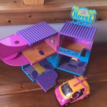 Lot of Polly Pocket Plastic Hotel & Uncommon Orange Pink Stretch Helicop... - $10.39