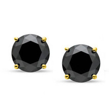 Round Cubic Zirconia Faux Onyx Sterling Silver 14k YG Unisex Stud Earrings - $15.34+