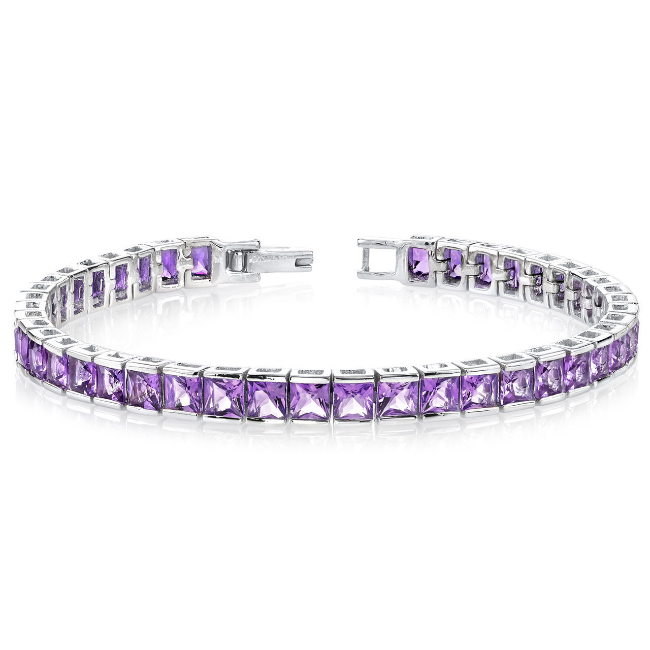 Primary image for Women's Sterling Silver Genuine Princess Cut Amethyst Bracelet