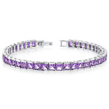 Women's Sterling Silver Genuine Princess Cut Amethyst Bracelet - $349.99