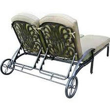 Outdoor chaise lounge with wheels patio end tabel cast alumnum furniture Bronze image 4