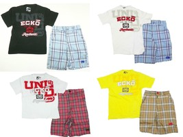 Little Boy's Short Set 2-Piece ECKO Tee Shirt T-Shirt and Plaid Shorts NEW