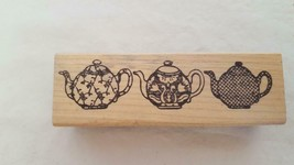 STAMP AFFAIR TEAPOT BORDER MOUNTED RUBBER EMBOSSING STAMP #141,USED, - $5.93