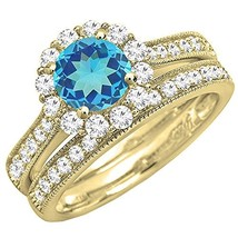 14K Yellow Gold Plated Rd Cut White CZ Dia. & Blue Topaz Halo Bridal Ring Set - $95.99